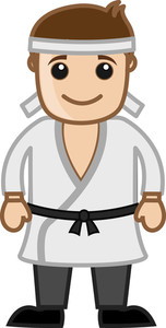 Cartoon Vector Character - Black Belt Karate Master