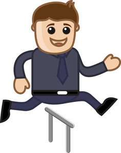 Cartoon Vector Character - Cartoon Man Jumping In Race
