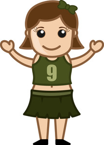 Cartoon Vector Character - Cute Happy Cheerleader Girl