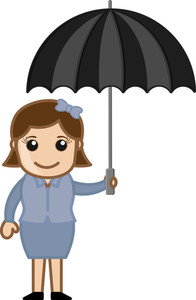 Cartoon Vector Character - Girl With Umbrella