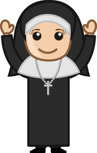 Cartoon Vector Character - Happy Religious Nun