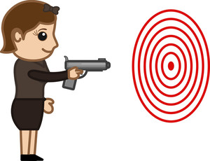 Cartoon Vector Character - Lady Practising Shooting
