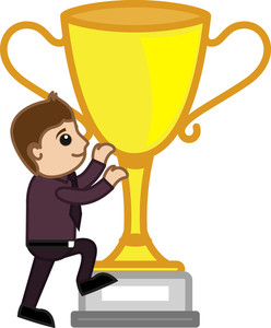 Cartoon Vector Character - Large Winner Cup