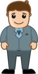 Cartoon Vector Character - Man In Vintage Suit Costume