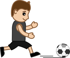 Cartoon Vector Character -  Man Playing Football