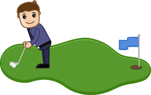 Cartoon Vector Character - Man Playing Golf