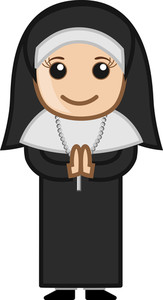 Cartoon Vector Character - Nun Praying