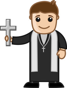 Cartoon Vector Character - Pastor Holding A Holy Cross