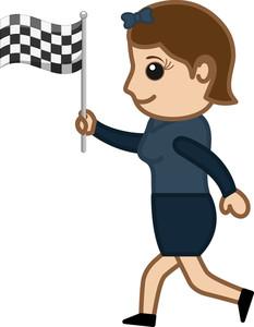 Cartoon Vector Character - Racing Flag