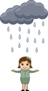 Cartoon Vector Character - Raining