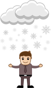 Cartoon Vector Character - Snowflakes Floating In Air