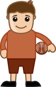 Cartoon Vector Character - Volleyball Player