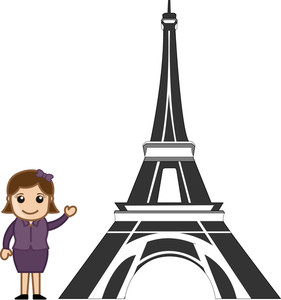 Cartoon Vector Girl - Eiffel Tower