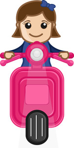 Cartoon Vector - Girl Riding On Scooter