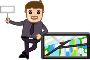 Cartoon Vector Guy - Standing With Gps Navigator