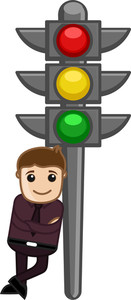 Cartoon Vector - Man Standing With Traffic Light