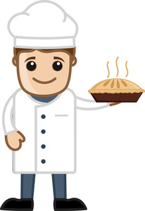 Cartoon Vector Shef Holding Pan Cake