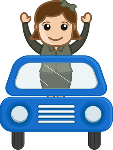 Cartoon Vector - Travelling In A Car