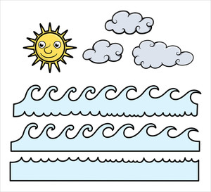 Cartoon Waves, Sun And Clouds - Cartoon Vector Illustration