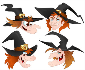 Cartoon Witch Faces Vectors