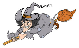 Cartoon Witch Flying On Her Broom - Halloween Vector Illustration