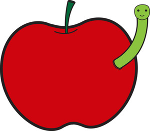 Cartoon Worm With Apple