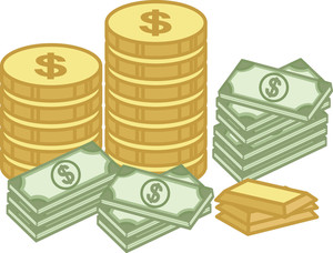 Cash And Gold Coin - Finance - Money - Treasure Cartoon - Vector Illustration