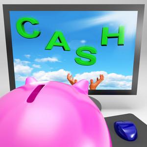 Cash On Monitor Shows Savings