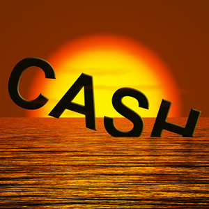 Cash Sinking And Sunset Showing Depression Recession And Economic Downturn