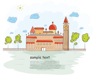 Castle With Trees Vector Illustration