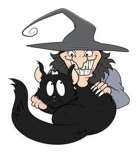 Cat With Evil Witch Vector For Halloween