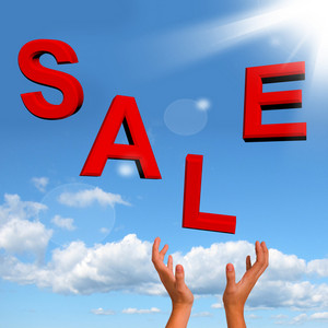 Catching Sale Word As Symbol For Discounts And Promotions