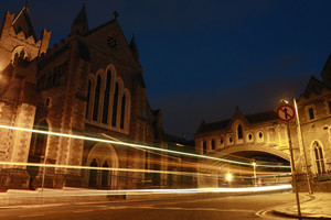 Cathedral With Traffic At Night In Dublin