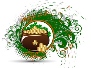 Cauldron With Gold Coins On The Splash Background For Patrick's Day. Vector
