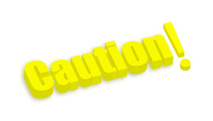 Caution 3d Text