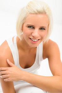 Attractive sportive woman portrait on white background