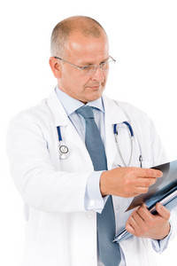 Portrait of hospital professional doctor with stethoscope hold x-ray