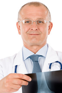 Hospital professional doctor with stethoscope hold x-ray look at camera