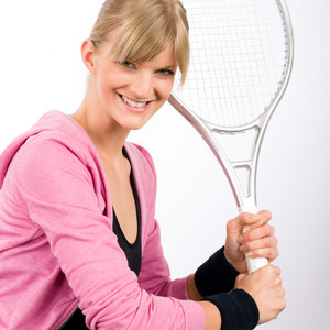 Tennis player woman young smiling serving racket isolated