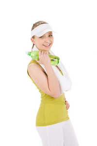 Fitness happy teenager woman in sportive outfit hold bottle