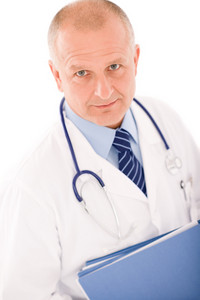 Professional senior doctor male with stethoscope portrait with document folders