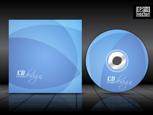 Cd Cover Design Template With Blue Background