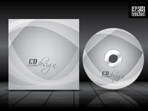 Cd Cover Design Template With Grey Background And Transperent Waves