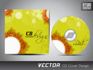 Cd Cover Presentation Design Template With Copy Space And Flower Effect