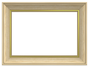 Cedar With Gold Rectangular Frame Isolated On White Background.