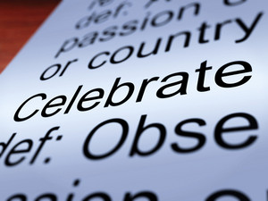Celebrate Definition Closeup Showing Festivity Or Event