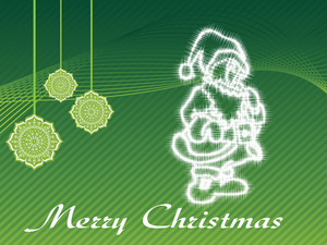 Celebrating Christmas Light In Santa Shape With Green Wavy Background