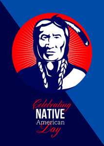 Celebrating Native American Day Retro Greeting Card