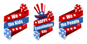 Celebration Banner Designs  Constitution Day Vector Illustration