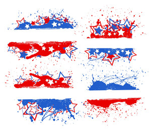 Celebration Banner Set Patriotic Usa Theme Vector